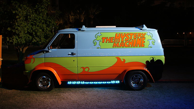 I can't explain the full reason we're going on summer vacation, but I can show you this cool picture of the Mystery Machine from Pat Loika.